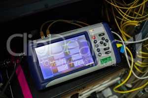 Close-up of digital cable analyzer