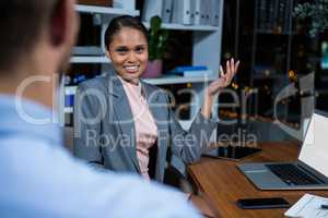 Businesswoman having a discussion in office