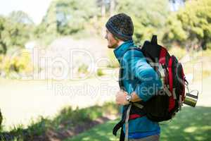 Hiker standing at countryside