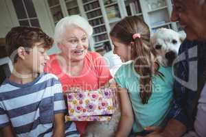 Grandparents and grandchildren looking at surprise gift in living room
