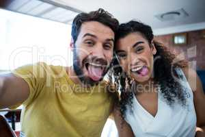 Couple making facial expression and having fun