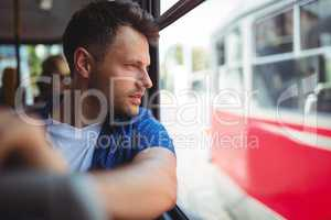 Man traveling in bus