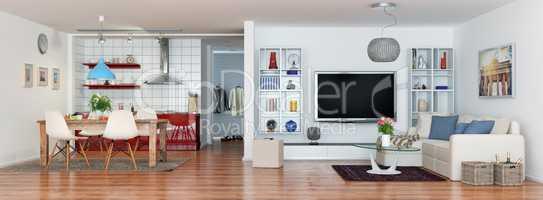 modern, luxurious, brightly loft apartment