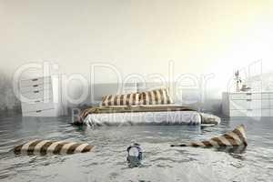 3d render - Water damager - bedroom