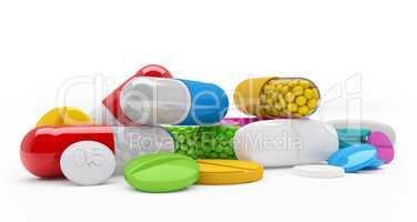 3d rendering - colorful tablets, pills, capsules - medicament