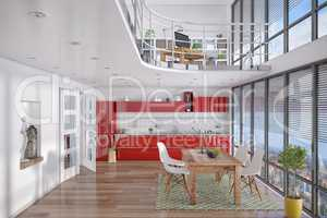 3d - modern loft with gallery, dining area, kitchen