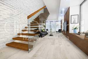 3d render - modern loft - living room