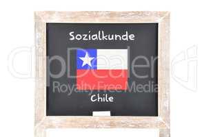 Sozialkunde mit Flagge auf Tafel