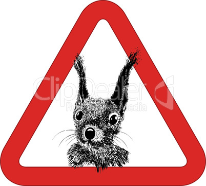 Animal free, sign warning squirrel zone vector