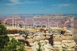 Crowded view point at the Grand Canyon National park
