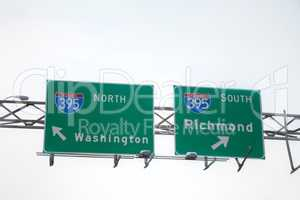 Directions to Washington, DC and Richmond sign