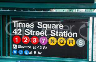Times Square and 42nd street subway sign