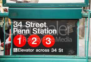 Penn Station and 34th street subway sign