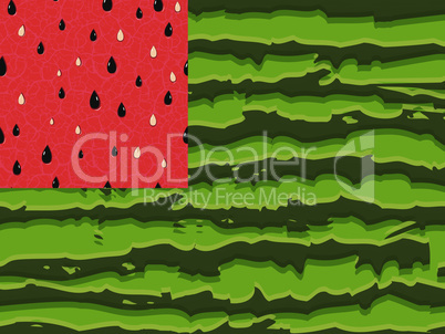Watermelon flag as symbol of summer with red and green seamless parts, the red pulp dark green stripes of the rind is made in the form of the flag of the USA. Vector illustration.