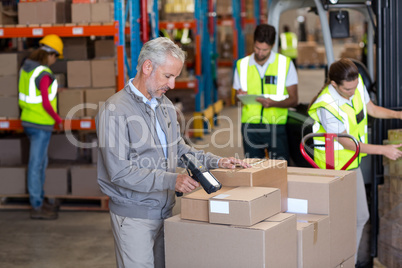 Warehouse manager scanning the boxes