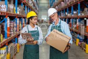 Warehouse workers checking cardboard box