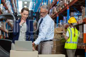 Portrait of warehouse manager and client interacting over laptop