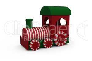 Steam engine with white and red striped