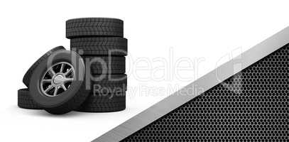 Composite image of row of tyres