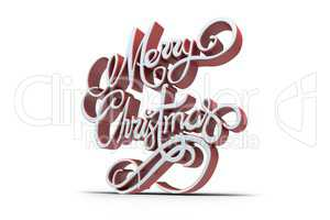 Three dimensional text of Merry Christmas in white and red color