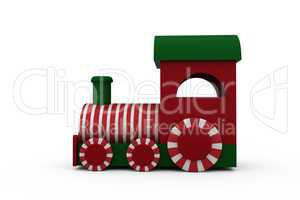 Steam engine toy model with striped