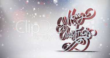 Composite image of three dimensional text of merry christmas in white and red color