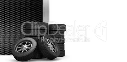 Composite image of rows of tyres