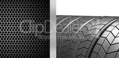 Composite image of closed up tyres