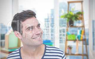 Composite image of handsome hipster looking away