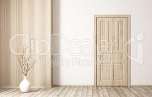 Interior of room with wooden door 3d rendering