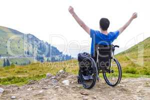 Optimistic handicapped man sitting on wheelchair