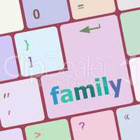 Vacation concept computer keyboard with word Family