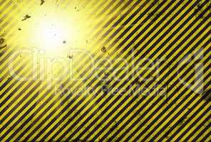 Shining warning black and yellow diagonal line