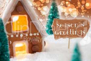 Gingerbread House, Bronze Background, Text Seasons Greetings