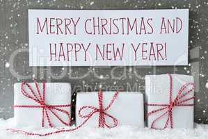 White Gift With Snowflakes, Text Merry Christmas Happy New Year