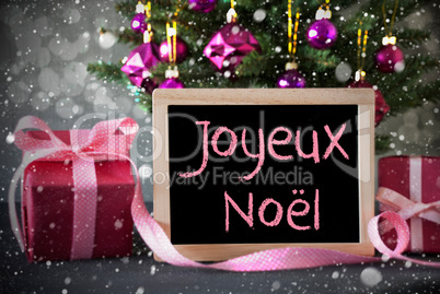 Tree With Gifts, Snowflakes, Bokeh, Joyeux Noel Means Merry Christmas