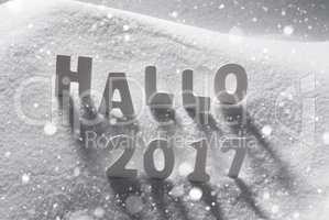 Text Hallo 2017 Means Hello, White Letters In Snow, Snowflakes