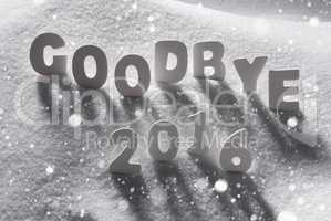 Text Goodbye 2016 With White Letters In Snow, Snowflakes