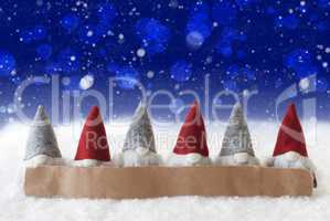 Gnomes, Blue Background, Bokeh, Snowflakes, Copy Space