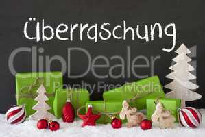 Christmas Decoration, Cement, Snow, Ueberraschung Means Surprise