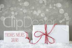 Gift, Cement Background With Bokeh, Neues Jahr Means New Year