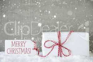 Gift, Cement Background With Snowflakes, Text Merry Christmas