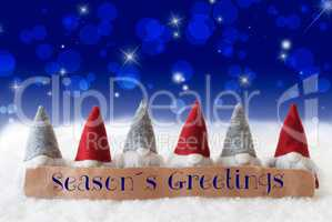 Gnomes, Blue Background, Bokeh, Stars, Text Seasons Greetings