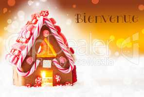 Gingerbread House, Golden Background, Bienvenue Means Welcome