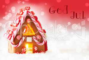 Gingerbread House, Red Background, God Jul Means Merry Christmas