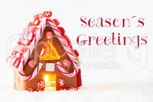 Gingerbread House, White Background, Text Seasons Greetings