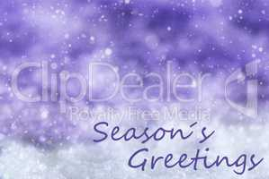 Purple Christmas Background, Snow, Snowflakes, Text Seasons Greetings