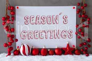 Label, Snow, Christmas Balls, Text Seasons Greetings