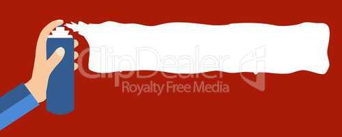 Sprühdose sprüht weiß auf rot - Flat Design