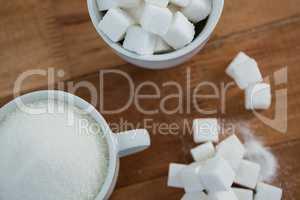 Cup of sugar powder and sugar cube